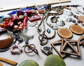 Destash Tipsy Gypsy Lot Handmade Beads Vintage Copper Wooden Beads / Upcycle Supplies Flower of Life Charms