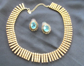 Roberta Chiarella gold tone necklace with vintage aqua marine faux stone earrings