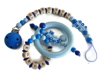 Train design gift set - Personalized Wooden beaded pacifier clip and baby rattle - customized