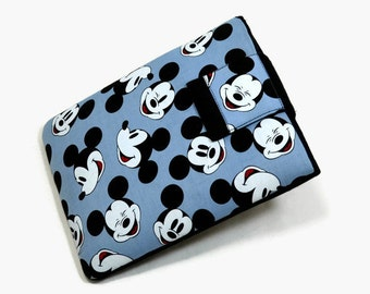 Handcrafted, Tablet Case, iPad Cover, Mickey Mouse, Head Toss, Kindle Fire Cover,  7, 8, 9, 10 inch Tablet Sleeve, Cozy, FOAM Padding, Blue