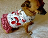Small Dog Dalmatian Print Vest, Custom Harness to Fit Yorkie Bichon Size, with Gingham Ruffle, Red, White and Black