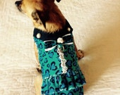 Luxurious Minky Dress Small Dog - Blue Heart-Shped Leopard Spot Print with Bow and Pearl Buttons, Made to Order for Toy Breed Sizes