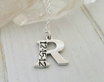 Initial Date Necklace, Sterling Silver Initial Necklace, Custom Letter Initial, Personalized Mother Necklace, Letter Initial necklace