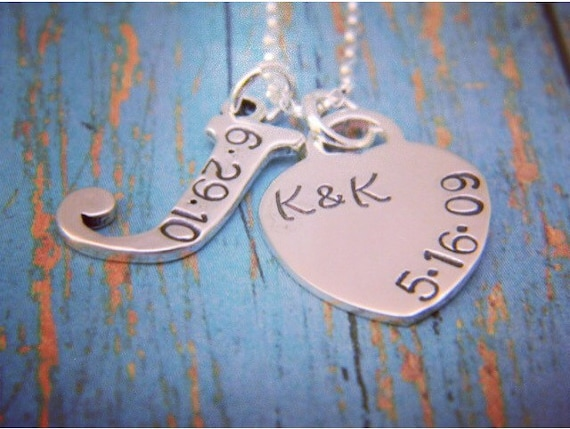 Sterling Silver, Initial and date necklace, 1 Letter Initial, Personalized Heart Charm, Custom made, Hand Stamped, Personalized Mom Necklace