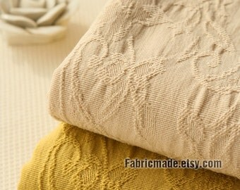 Beige Mustard Yellow Cotton Fabric With Jacquard Weave Paisley Flower For Curtain Clothing- 1/2 yard