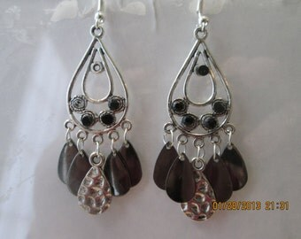 Silver Tone Chandelier Earrings with Silver Tone Teardrop Dangles and Black Crystal Beads