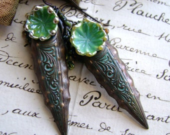 Ancient Daggers, lampwork glass assemblage rustic mixed media earrings, verdigris patina, bohemian artisan jewelry, ooak, AnvilArtifacts
