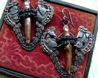 Pearls, The Ancient Hoard Series, artisan earring, mixed metal jewelry, rustic primitive, rocker, filigree earrings, AnvilArtifacts