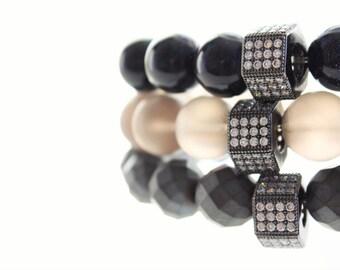 Gemstone Black Hexagon  Micro Pave Beaded Bracelet