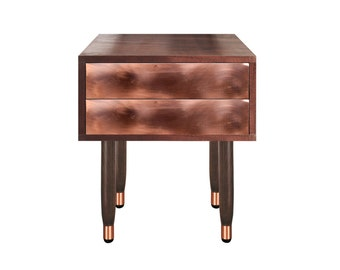 Bedside Table Eldfell walnut edition. Midcentury Modern side table. Solid Wood. Modern Furniture. Copper