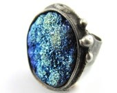 the ice moon - titanium aura druzy crystal ring - raw crystal jewelry