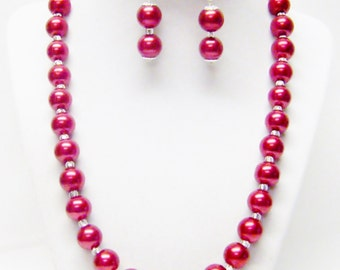 12mm Red Glass Pearl & Czech Glass E-Beads Necklace/Earrings Set