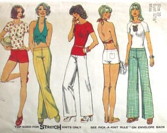 Vintage 70s Hip Hugger Bell Bottom Pants or Short Shorts . Pullover Top and Halter Top 1974 Simplicity Pattern 6354 Bust 32 1/2