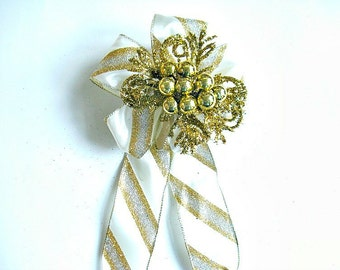 Gold & Silver bow, Holiday tree bow, Gift basket bow for women, Christmas decor, Large gift bow, Glitter holiday bow, Bow for wreaths (C551)