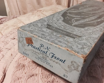 Antique corset box only blue shabby french nordic chic vintage by nina practical front