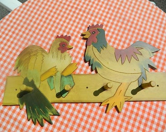 Vintage door coat hook, chickens decoration