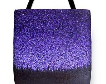 Starry Night Fine Art Tote Bag, Night Sky Tote Bag, Blue Purple Tote Bag, Night