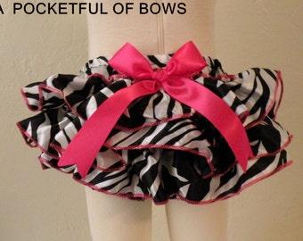 Baby Ruffle Bloomers, Zebra Ruffle Bloomers, Diaper Cover