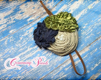 Navy Blue, Olive Green, Beige Hair Piece, Army Green Hair Accessories, Burlap Tan Hair Bow, Fabric Flower Brooch, Infant Headband, Hair Clip