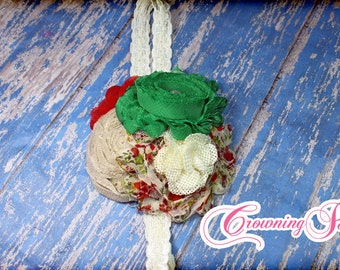 Burlap, Ivory, Red, Green Christmas Hair Piece, Natural Tan Holiday Hair Accessory, Hair Accessory, Beige, Green, Red Christmas Headband