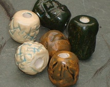 Dreadlock Beads, Dread Beads, Hair Accessories, Large Brown Antiqued Silver Beads,  Macrame Beads, Ceramic Pottery, Handmade Clay Beads