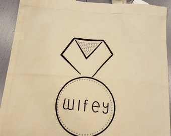 WIFEY Sparkling Engagement Ring canvas tote