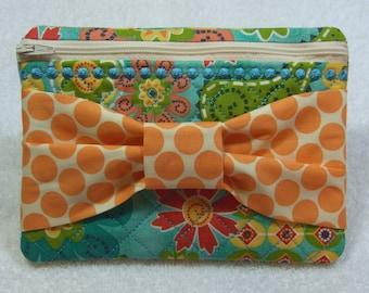 Zipper Bag/Case with Bow Detail Front (small) Zipper Clutch Zipper Travel Bag