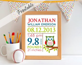 PRINTABLE, Birth Announcement Print, Nursery Art, Digital Birth Stat Print, Name Print, Baby Fox Nursery, Woodland Baby Art, A-1029
