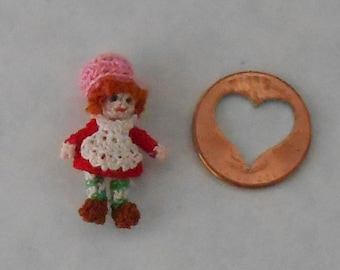 Micro Miniature Crochet Strawberry Shortcake. Miniature Amigurumi.