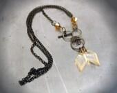 Aged Brass Vintaj Steampunk Fashindustral Chain Necklace Pendant