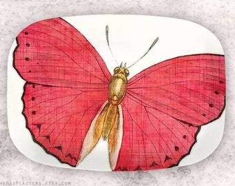 butterfly, Pink butterfly melamine platter