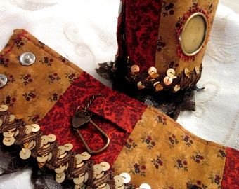 Pseudo Steampunk Fabric Wrist Cuffs