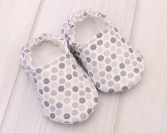 Soft Sole Baby Shoes - Gray Dots - Toddler Girl Shoes - Infant Walking Shoes - Baby Boy Crib Shoes - 1428
