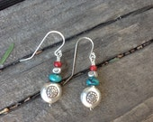 Custom Order for Terry: Hill Tribe Silver Puffed Coin Beads Earrings