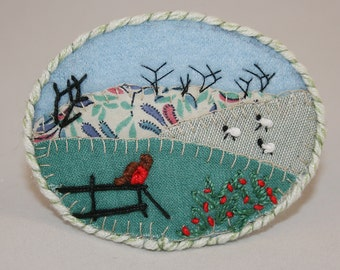Winter Meadows Brooch- Embroidered Applique stitched by Lynwoodcrafts