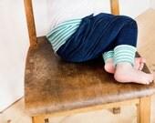 Harem pants winter, organic baby pants, blue cord harem pants, loose winter pants, cloth diaper pants