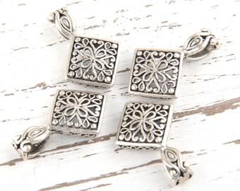 Antique Silver Fretwork Square Bail Charm Pendant, 4 pieces // SP-248