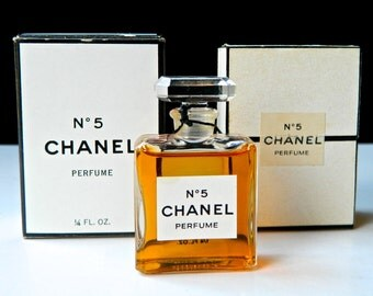 Vintage CHANEL No 5 Pure Perfume .25 oz (7.5 ml) 1970s Crystal Stopper Original Boxes Full and Fresh