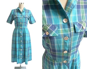 Vintage Shirt Dress - Blue Checked Dress - MOP Shell Buttons - Short Sleeve Shirtwaister