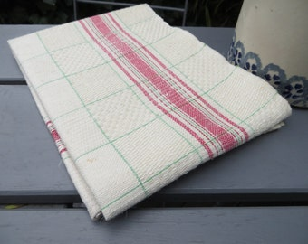 German  Antique  Hand Woven  Linen Towel Red Green Stripes Kitchen  Dish Cloth Napkin    Bath Cloth Torchon Christmas Runner Topper Unused
