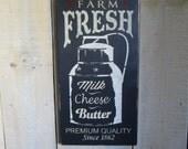 Handmade Wood Sign - Fresh Milk