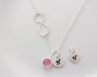 Initial Necklace, Custom infinity necklace Initial and Birthstone, Mother Necklace, Eternity symbol of Love Friendship