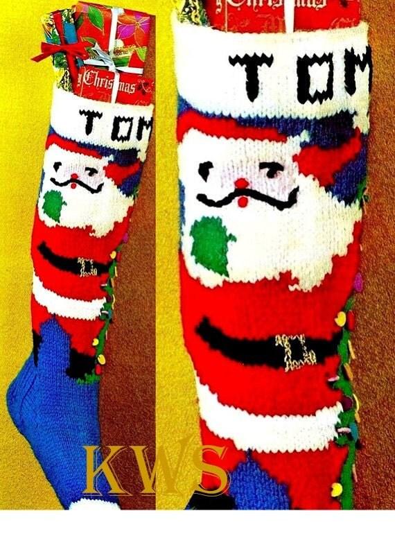 Christmas Stocking Knitting Patterns Vintage : Vintage Knit CHRISTMAS TREE Santa Stocking PDF