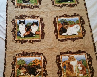 Kitty Cat Quilt or Wall Hanging.  Very unique for the cat lover!