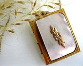 Photo Album Book Locket, Flower Mother of Pearl Front Cover, 12k Goldfilled, Floral Blossom Motif, 14kgf Speidel Chain