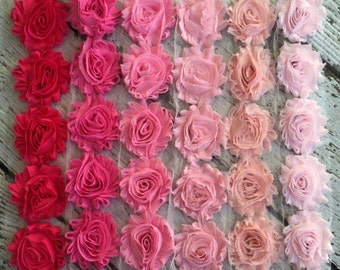 Shabby Chiffon Flower Trim - Your Choice of Color And Quantity! PINK SCHEME - 1/2 yard or 1 yard - Light - Blush - Barbie - Shocking Pink