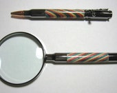 HAND TURNED 2 Piece 30 caliber Gift Set, From striped plywood, Gun metal Trim, bolt action pen and 4 power magnifier.