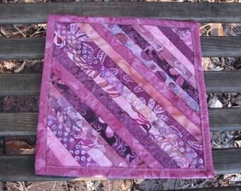 Pink Batik Quilted Snack Mat - Mug Rug - Candle Mat- Hot Pad