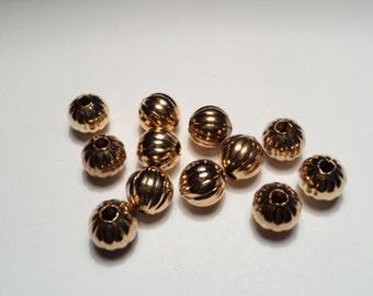 12 pcs. - 8mm Corrugated brass  beads - rcb8