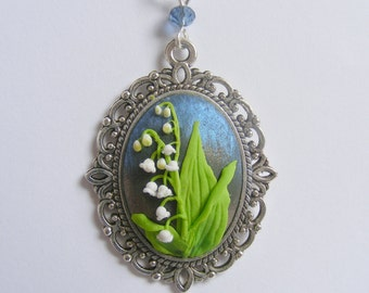 Lily of the Valley Pendant Flower Pendant Flower Jewelry Polymer Clay Applique Clay Embroidery Flower Necklace May Birthday Gardeners gift